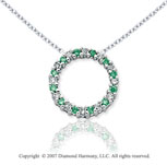 14k White Gold Circle 1/4 Carat Green Diamond Pendant