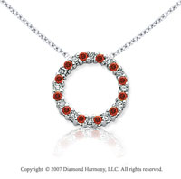 14k White Gold Circle 1/4 Carat Red Diamond Pendant