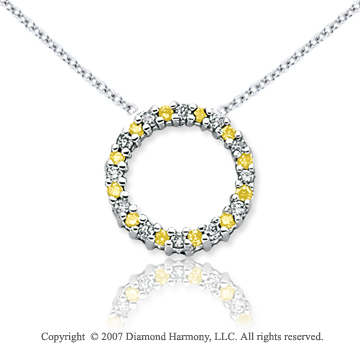14k White Gold Circle 1/4 Carat Yellow Diamond Pendant