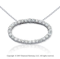 14k White Gold Prong Oval 4/5 Carat Diamond Pendant