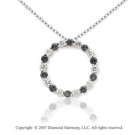 14k White Gold Circle 4.00 Carat Black Diamond Pendant
