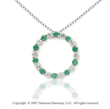 14k White Gold Circle 4.00 Carat Green Diamond Pendant