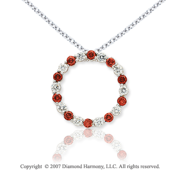 14k White Gold Circle 4.00 Carat Red Diamond Pendant