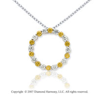 14k White Gold Circle 4.00 Carat Yellow Diamond Pendant