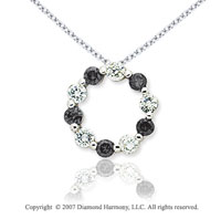 14k White Gold Round 1.00 Carat Black Diamond Pendant