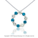 14k White Gold Round 1.00 Carat Blue Diamond Pendant
