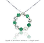 14k White Gold Round 1.00 Carat Green Diamond Pendant