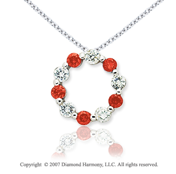 14k White Gold Round 1.00 Carat Red Diamond Pendant