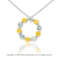 14k White Gold Round 1.00 Carat Yellow Diamond Pendant