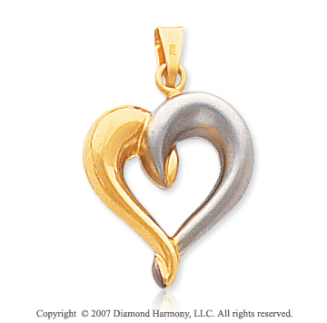 14k Yellow Gold Stylish Gentle Hug Open Heart Pendant