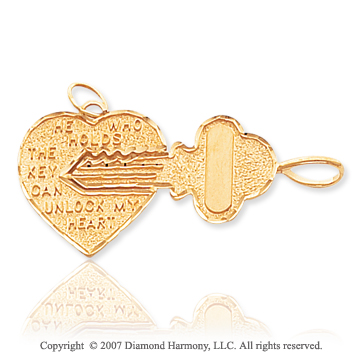 14k Yellow Gold Fine Carved �Key To My Heart� Pendant