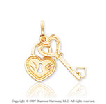 14k Yellow Gold Stylish Lock and Key Heart Pendant
