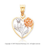 14k Tri Tone Gold Stylish Carved Floral Heart Pendant