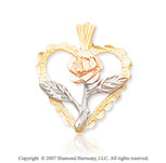 14k Tri Tone Gold Stylish Carved Rose Heart Pendant