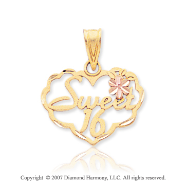 14k Two Tone Gold Lovely Flower 'Sweet 16' Heart Pendant