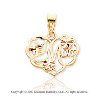 14k Two Tone Gold Carved Floral �#1 Mom� Heart Pendant