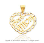 14k Yellow Gold Carved Elegant �Best Mom� Heart Pendant