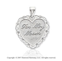 14k White Gold Fine Stylish �For My Mom� Heart Pendant