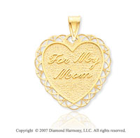 14k Yellow Gold Fine Stylish  'For My Mom' Heart Pendant