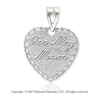 14k White Gold Fine Carved 'For My Mom' Heart Pendant