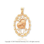 14k Two Tone Gold Filigree �Best Mom� Heart Pendant