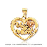 14k Two Tone Gold �We Love You Mom� Fine Heart Pendant