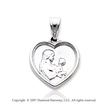 14k White Gold Carved Mother and Child Heart Pendant