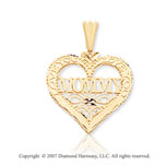 14k Yellow Gold Stylish �Love You Mommy� Heart Pendant