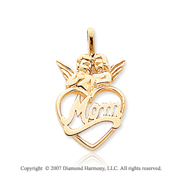 14k Yellow Gold Lovely Two Angels �Mom� Heart Pendant