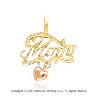 14k Two Tone Gold Stylish Elegant �Mom� Heart Pendant