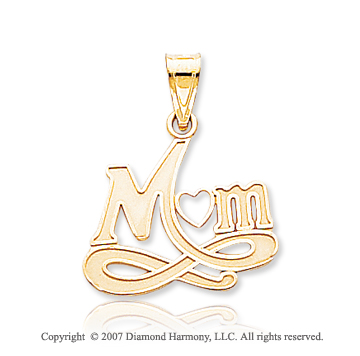 14k Yellow Gold Elegant Fashion Heart �Mom� Pendant