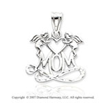 14k White Gold Classic Fine Two Angels �Mom� Pendant