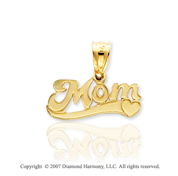14k Yellow Gold Stylish Elegance Heart �Mom� Pendant