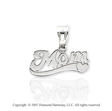 14k White Gold Stylish Elegance Heart �Mom� Pendant