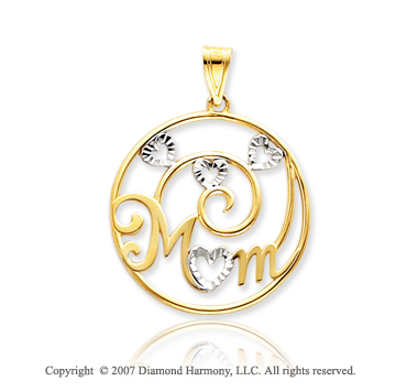 14k Yellow Gold Elegant Fashion 'Mom' Circle Pendant