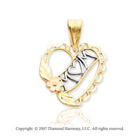 14k Two Tone Gold Elegant Flower Heart �Mom� Pendant
