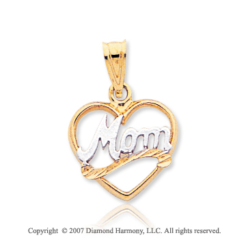 14k Yellow Gold Stylish Modern �Mom� Open Heart Pendant