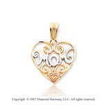 14k Two Tone Gold Fine Elegance �Mom� Heart Pendant