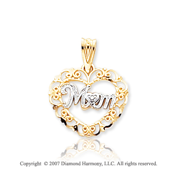 14k Yellow Gold Classic Elegance �Mom� Heart Pendant
