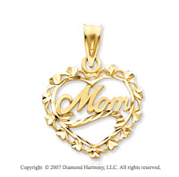 14k Yellow Gold Classic Fashion �Mom� Heart Pendant