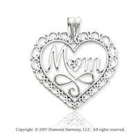 14k White Gold Filigree �Mom� Heart Diamond Pendant