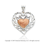 14k Two Tone Gold Stylish 'Mom' Double Heart Pendant