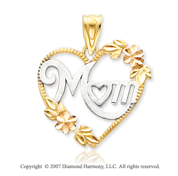 14k Two Tone Gold Carved Floral �Mom� Heart Pendant