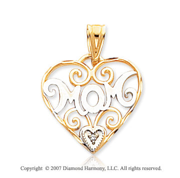 14k Yellow Gold Stylish Elegance �Mom� Heart Pendant