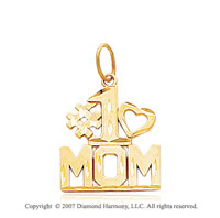14k Yellow Gold Stylish Large �#1 MOM� Heart Pendant