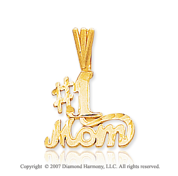 14k Yellow Gold Modern Stylish Fine '#1 Mom' Pendant