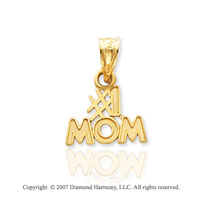 14k Yellow Gold Modern Classic Fine �#1 MOM� Pendant