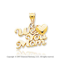 14k Yellow Gold Classic �We Love You Mom� Heart Pendant