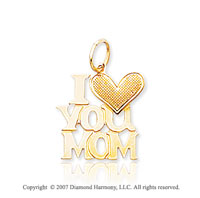 14k Yellow Gold Classic �I Love You Mom� Heart Pendant