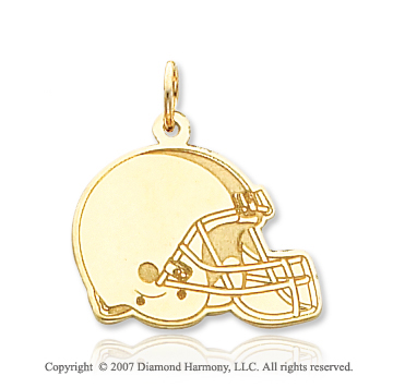 14k Yellow Gold Smooth Cleveland Browns Helmet Pendant